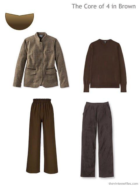 Core of 4 garments in dark brown