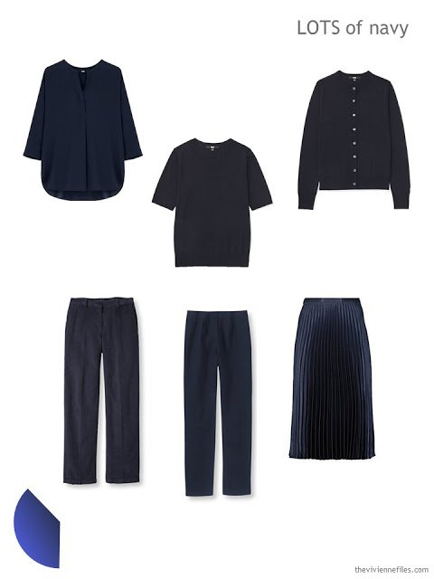 Six navy garments, to build a cool-weather 4 by 4 Wardrobe