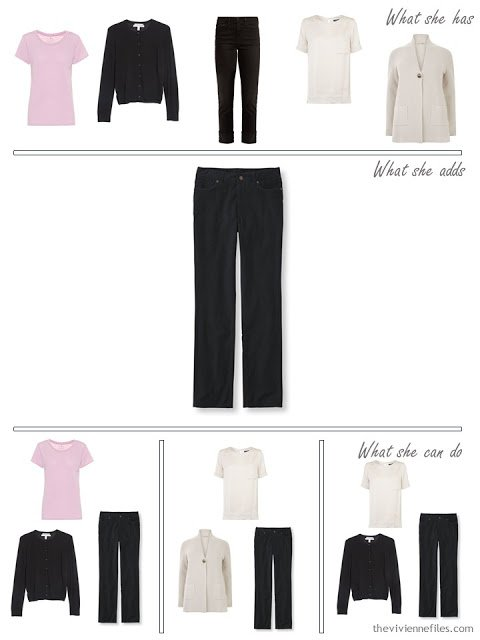 adding black corduroy pants to a capsule wardrobe