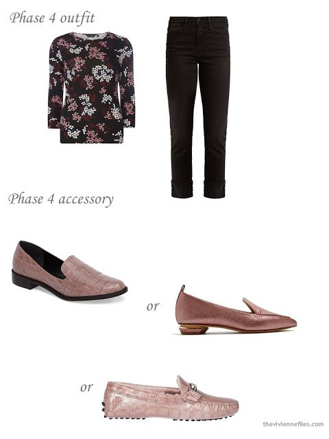 adding pink loafers to a 4 by 4 Wardrobe