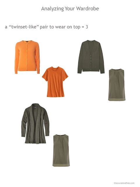 evaluating a wardrobe for the presence of twinsets or equivalent pieces