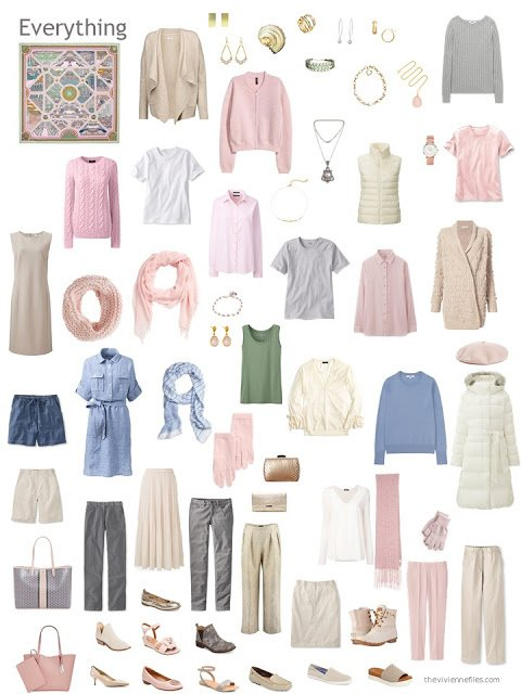 a 12-outfit wardrobe in beige, grey, and pink with cream
