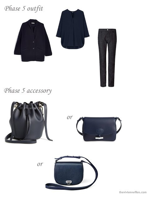 adding a navy bag to a 4 by 4 Wardrobe in Navy with floral accents