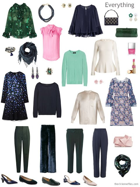 a 13-piece holiday wardrobe in navy, green, ivory and pink
