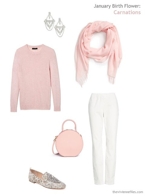 wearing a carnation pink sweater with off-white