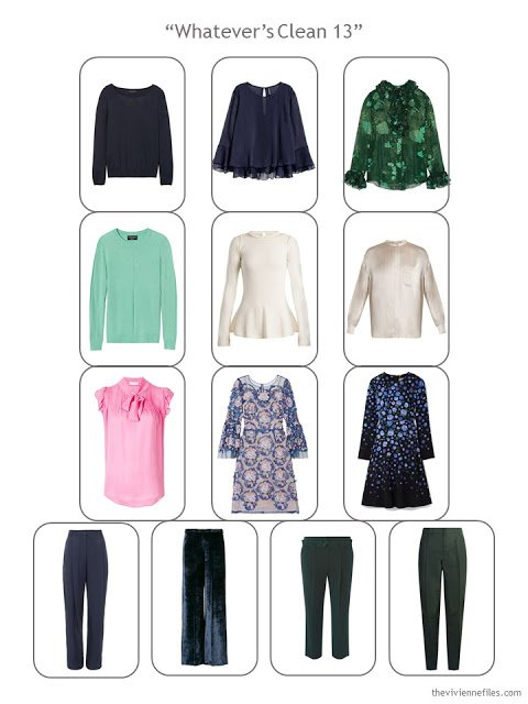 a Whatever's Clean Wardrobe for evening, in navy, green, cream and pink