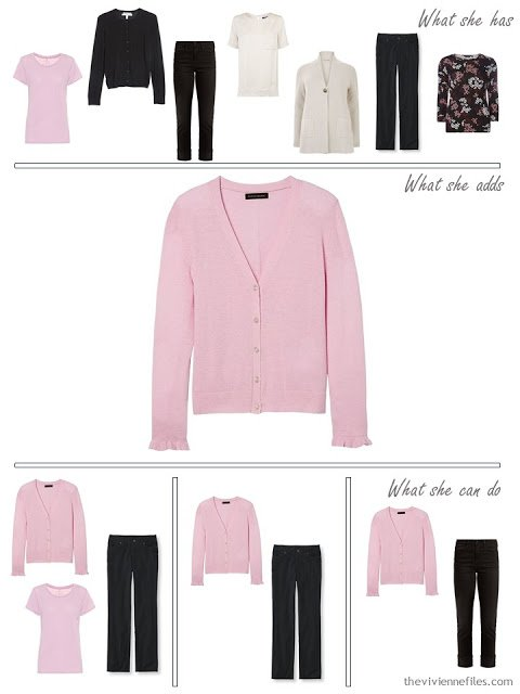 adding a pink cardigan to a capsule wardrobe