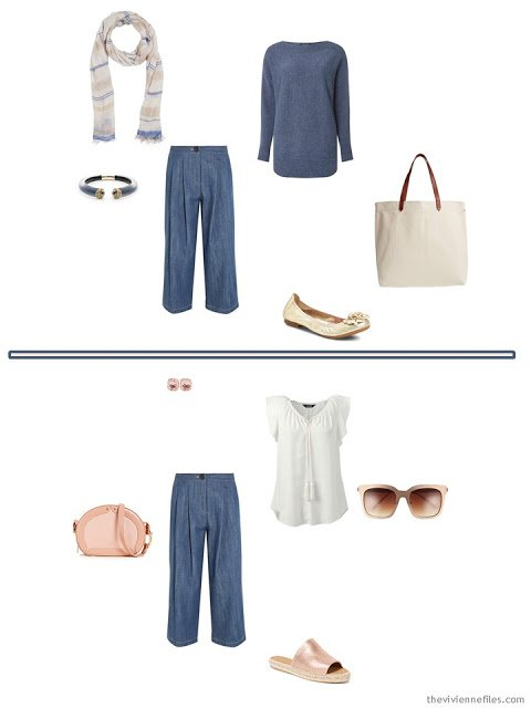 2 ways to wear denim culottes from a 6-Pack Wardrobe