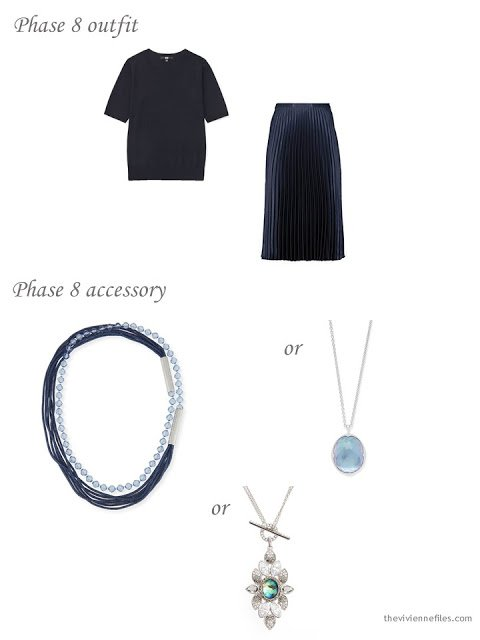 adding a necklace to a 4 by 4 Wardrobe in Navy with floral accents