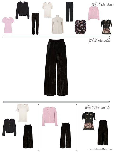 adding velvet pants to a capsule wardrobe