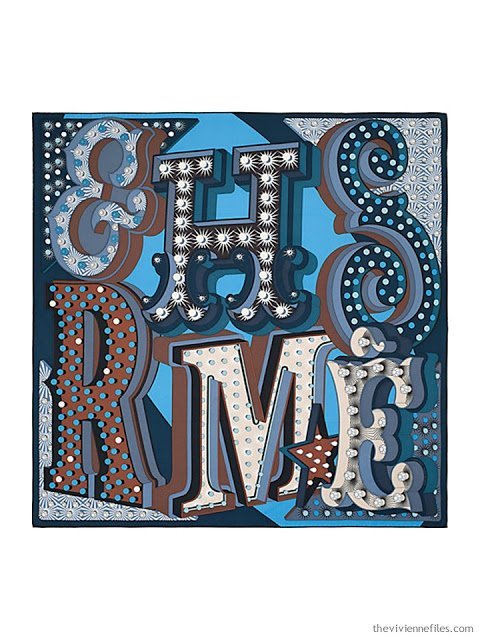 Hermes Electrique silk scarf in blue and brown