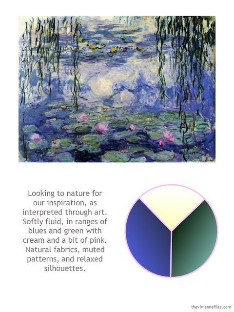 Monet's Water Lilies with style guidelines and color palette