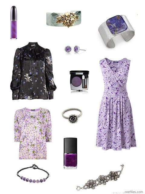 Violets and the color violet in clothing, jewelry and cosmetics