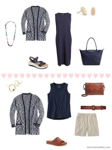 2 ways to wear a marled navy cardigan from a 4 by 4 Wardrobe