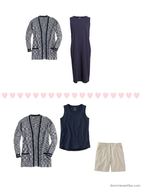 2 ways to wear a navy marled cardigan from a 4 by 4 Travel Wardrobe