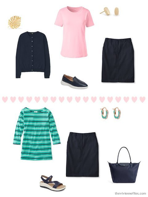 2 ways to wear a navy skirt from a 4 by 4 Travel Wardrobe