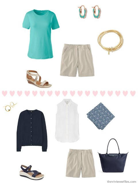 2 ways to wear beige shorts from a 4 by 4 Travel Wardrobe