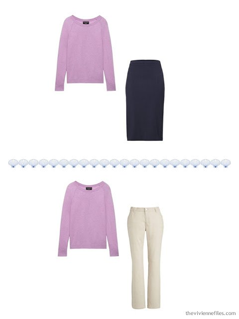 2 ways to wear a lavender sweater from a 4 by 4 Travel Wardrobe