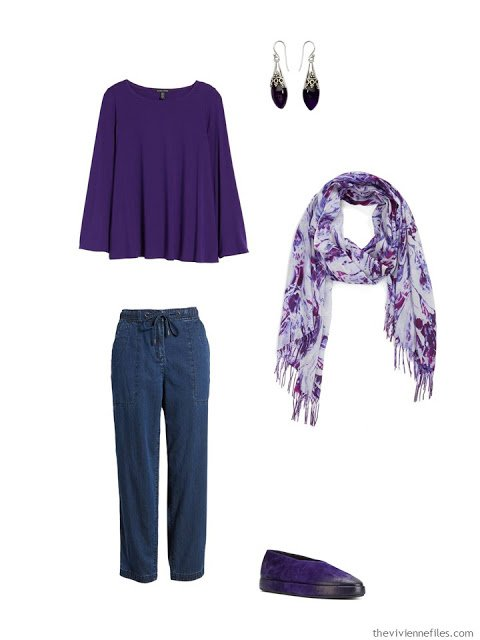 wearing an ultraviolet tee with blue denim pants
