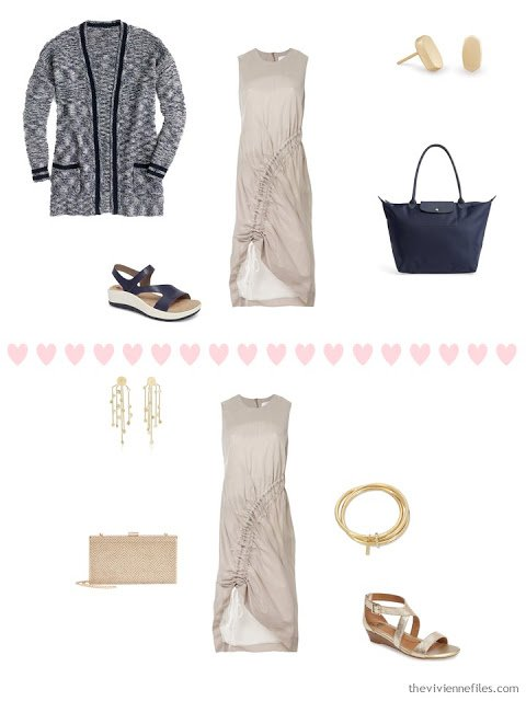 2 ways to wear a beige dress from a 4 by 4 Travel Wardrobe