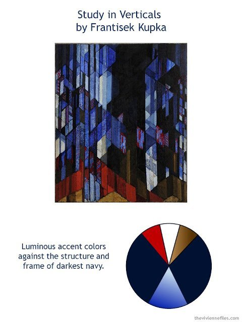 Study in Verticals (The Cathedral) by Frantisek Kupka with style guidelines and color palette