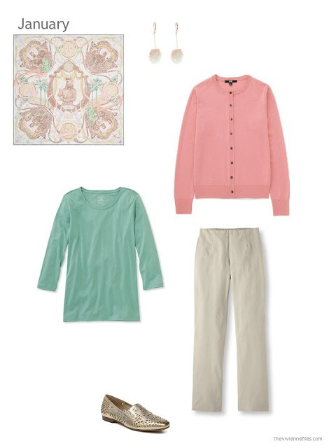 peach cardigan, mint tee and beige trousers united by an Hermes scarf