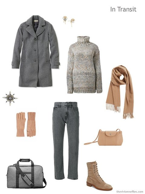 cold-weather travel outfit in grey and camel