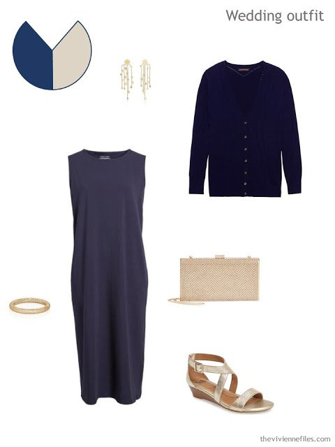 dressy outfit in navy, for warm weather