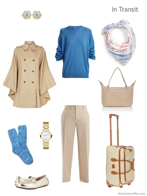 travel outfit in beige with blue accents