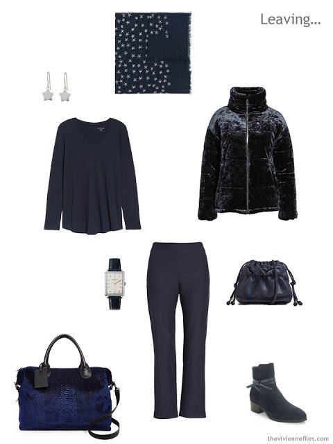 cold weather travel outfit in navy
