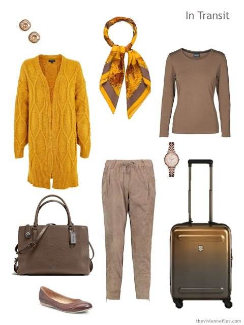 travel outfit in cocoa brown with bright yellow accents