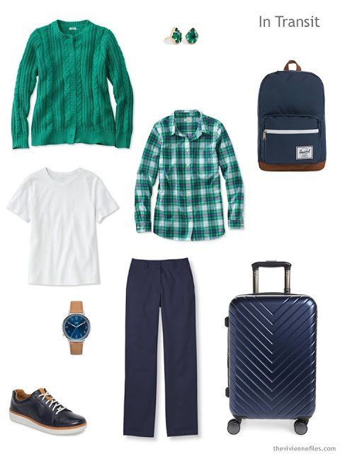 travel outfit in green, white and navy