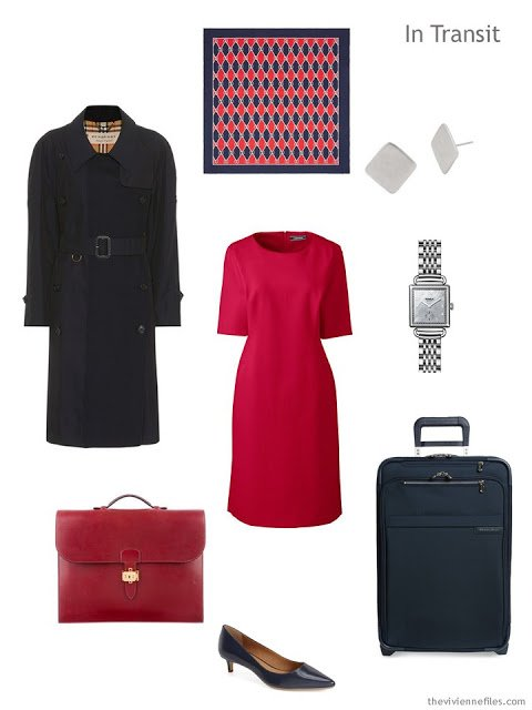 Business travel outfit in navy and red