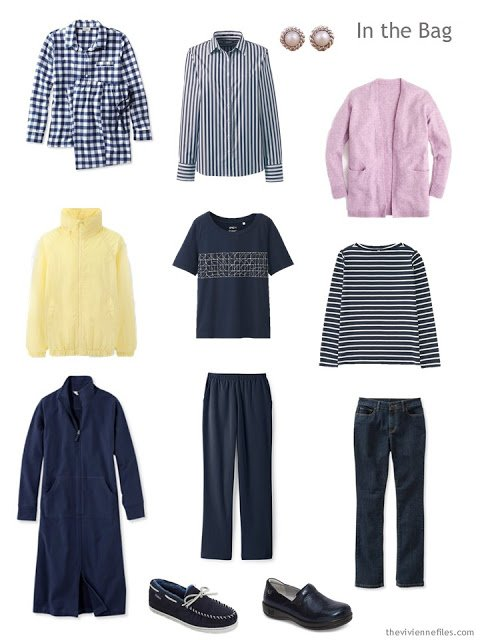 travel capsule wardrobe in navy, white and pastel accents