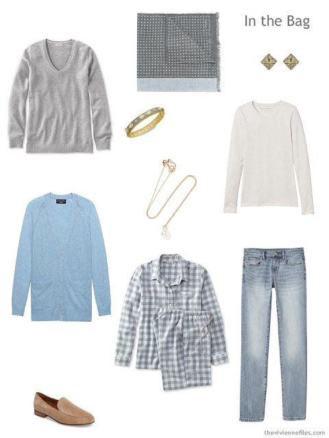 cold weather long-weekend travel wardrobe in blue and grey
