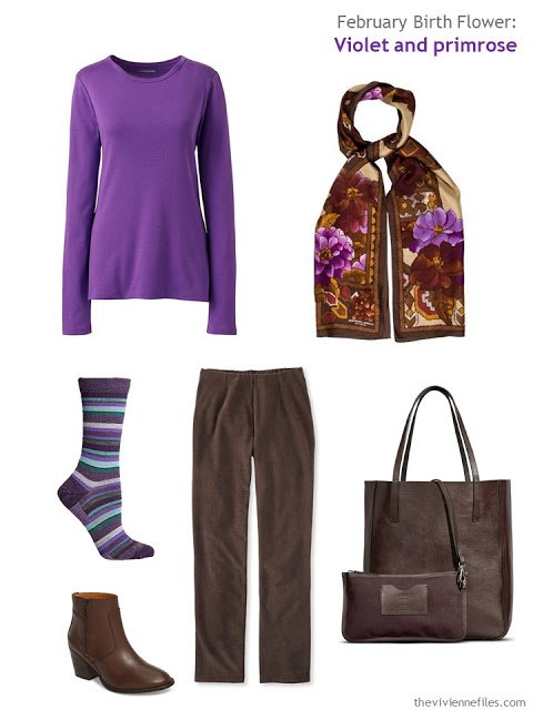 wearing violet with brown
