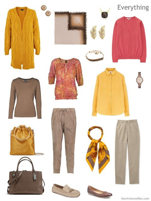 Tote Bag Travel capsule wardrobe in brown, yellow and bright pink
