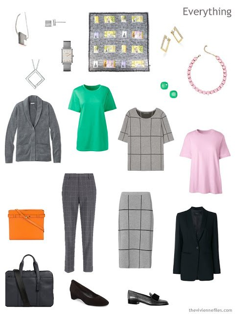 Tote Bag Travel business capsule wardrobe in black and grey with pastel accents