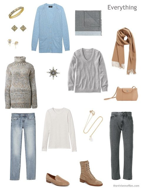 travel capsule wardrobe in grey, camel and light blue, for cool weather