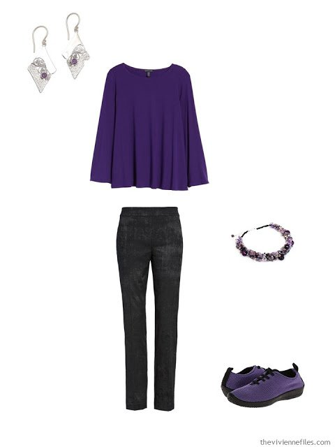 wearing an ultraviolet tee with black jacquard pants