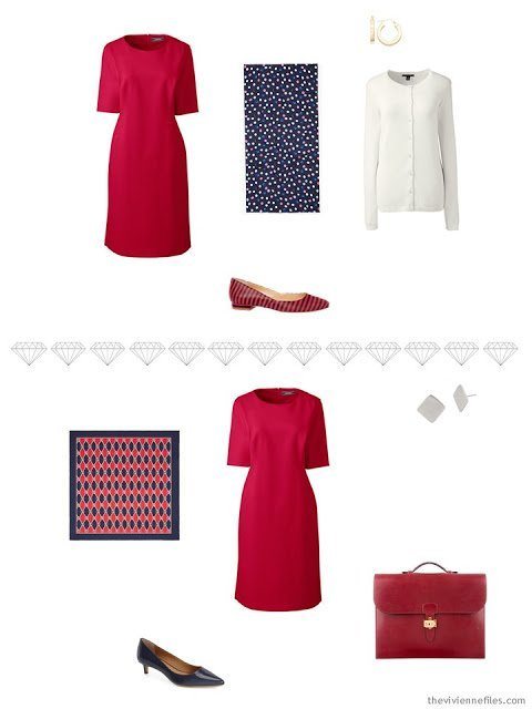 2 ways to accessorize a red dress for business