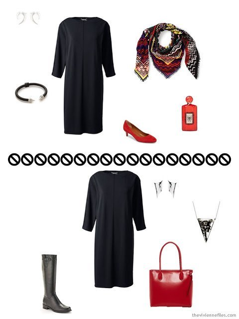 2 ways to wear a black dress from Tote Bag Travel Wardrobe in black and white for cool weather business