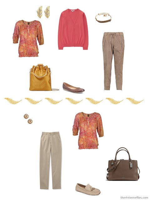 2 ways to wear a floral top from a Tote Bag Travel Capsule Wardrobe
