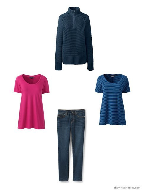 spring wardrobe cluster around a pair of jeans