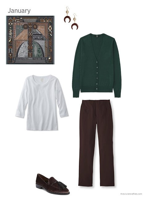 Hermes Ndop inspires this outfit of a forest green cardigan, white tee and brown pants