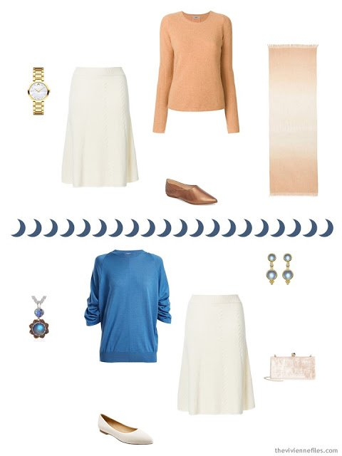 2 ways to wear an ivory knit skirt from a Tote Bag Travel capsule wardrobe