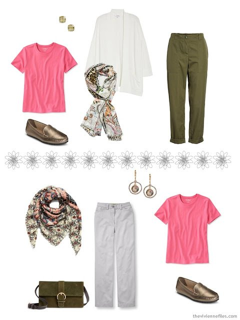 2 ways to wear a pink tee shirt from a Tote Bag Travel capsule wardrobe