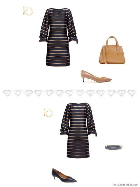 2 ways to accessorize a navy and tan striped dress for business