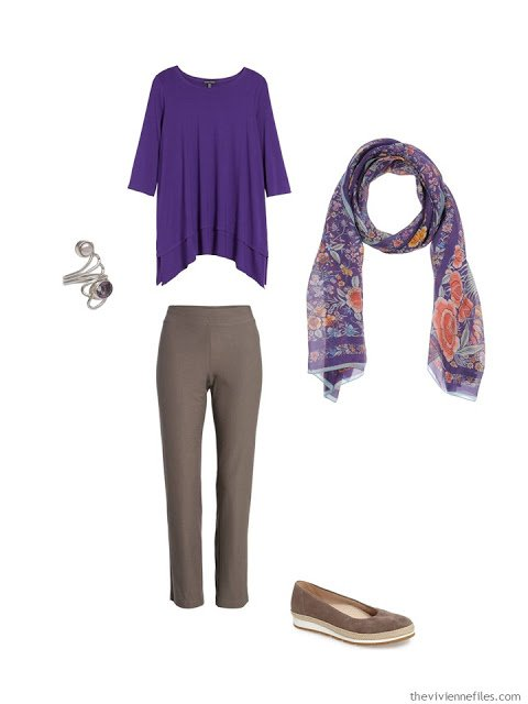 wearing an ultraviolet tunic with rye pants