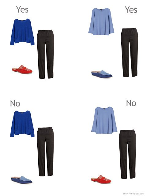 4 outfits to illustrate compatibility of accent colors